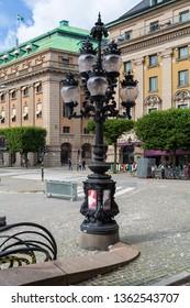 Stockholm, Sweden - August 23 2016: Street candelabrum in front of the Royal Swedish Opera