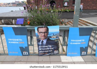 STOCKHOLM, SWEDEN - AUGUST 23, 2018: Moderate Party (Moderaterna) political posters before Swedish general election to be on September 9, 2018.