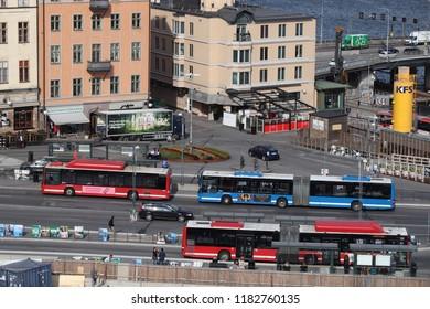 STOCKHOLM, SWEDEN - AUGUST 23, 2018: City buses in Stockholm, Sweden. The buses are operated by SL, Storstockholms Lokaltrafik (Greater Stockholm Local Transit Company).