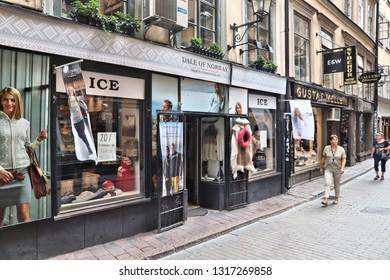 STOCKHOLM, SWEDEN - AUGUST 23, 2018: Dale of Norway fashion store at Vasterlanggatan street of Old Town (Gamla Stan), Stockholm, Sweden.