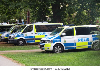 STOCKHOLM, SWEDEN - AUGUST 24, 2018: Swedish Police cars parked in Stockholm. Swedish Police (Polisen) employs more than 28,000 people.