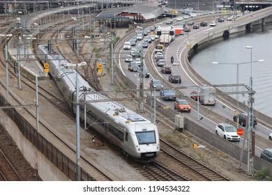 STOCKHOLM, SWEDEN - AUGUST 24, 2018: SJ Swedish Railways train in Stockholm. SJ operates regional, intercity and high speed train services in Sweden.