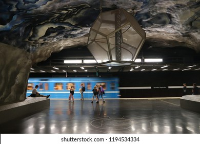 STOCKHOLM, SWEDEN - AUGUST 24, 2018: Stockholm metro (T-bana) underground station in Sweden. Stockholm metro is known for its artistic station interiors.