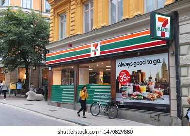 STOCKHOLM, SWEDEN - AUGUST 24, 2018: 7-Eleven convenience store in Stockholm, Sweden. 7-Eleven is world's largest licensor of convenience stores, with more than 46,000 shops.