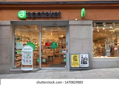 STOCKHOLM, SWEDEN - AUGUST 24, 2018: Pharmacy shop in Stockholm, Sweden. Monthly consumer spending in Sweden amounts to SEK 520 billion (2018).