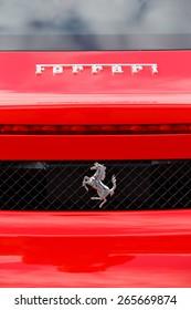 STOCKHOLM, SWEDEN - AUGUST 29, 2014: Back of a Ferrari car  with logos