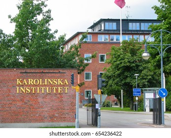 STOCKHOLM, SWEDEN, AUGUST 30, 3009: Karolinska Institute, one of the most famous centres for education in the world, on an overcast day during Fall.