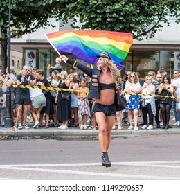 STOCKHOLM, SWEDEN - AUGUST 4, 2018: Stockholm Pride Parade during Europride 2018 attracted approximately 45000 participants and half a million spectators.