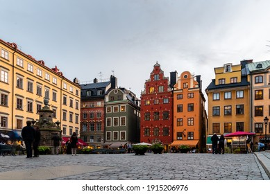 Stockholm, Sweden - August 8, 2019: Scenic view of Stortorget square in Gamla Stan at sunset, the Old Town is one of the largest and best preserved medieval city centers in Europe