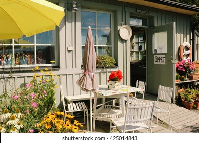 STOCKHOLM, SWEDEN - CIRCA AUGUST 2015: Lovely shops and artists' studios on Fjaderholmen, a small island off the coast of Stockholm, and a popular excursion destination for locals and tourists.