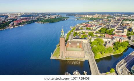Stockholm, Sweden. Stockholm City Hall. Stockholms stadshus. Built in 1923, red brick town hall, From Drone