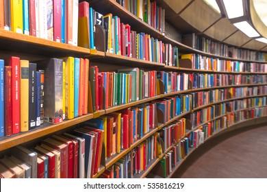 STOCKHOLM, SWEDEN - DEC 13, 2016: Stockholm public library Stadsbiblioteket during Lucia.