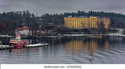 STOCKHOLM, SWEDEN - Dec 15, 2018: The Manilla School for Blind and Deaf-Mutes on the island of Djurgarden at overcast winter morning.