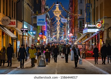 Stockholm / Sweden - Dec 22nd 2018: Last minute Christmas shopping at Drottninggatan street.
