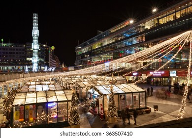 Stockholm, Sweden - December 12, 2015 : Christmas market is held at the square in the center of Stockholm City. A modern Christmas market with inspiration from Winter Village, Bryant Park, New York.