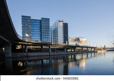 STOCKHOLM, SWEDEN - DECEMBER 15: Cityscape with modern buildings in the center of Stockholm in Sweden on December 15, 2016