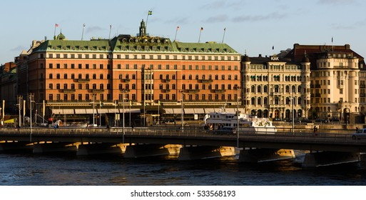 STOCKHOLM, SWEDEN - December 21, 2015: Grand Hotel in Stockholm is a luxury hotel at Stockholm waterfront,  a five-star hotel in Stockholm. Since 1901.