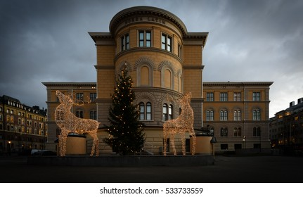 Stockholm, Sweden - December 21, 2015: Christmas Ornaments at Norra Latin in city of Stockholm