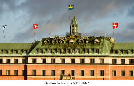 STOCKHOLM, SWEDEN - December 21, 2015: Grand Hotel in Stockholm is a luxury hotel at Stockholm waterfront, a five-star hotel in Stockholm. Since 1901, now they have guests from the nordic countries.