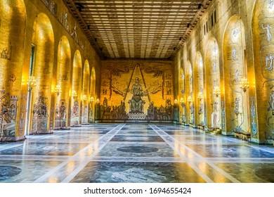 STOCKHOLM, SWEDEN - DECEMBER 23 2019: Interior of Golden Hall of the Stockholm City Hall in Stockholm, Sweden. The Golden Hall is the venue for the dance after the Nobel Prize banquet.