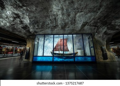 STOCKHOLM, SWEDEN - DECEMBER 27, 2018. Tunnelbana underground metro stations in Stockholm, Sweden.  The Tunnelbana is home to the world's longest art gallery.