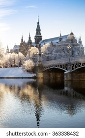 Stockholm, Sweden - December 29, 2015 : Winter wakes up. Snowflakes fell on Stockholm during last weekend after the Christmas. This picture was taken in the cold winter morning on Dec 29.