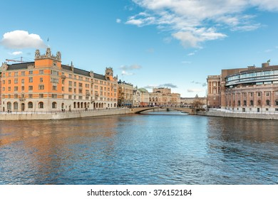 Stockholm, Sweden - Feb 13, 2016 : Parliament house and Rosenbad on a clear winter day. Hours of sunshine in Stockholm during the winter is only 30 to 70 hours per month according to historical data.
