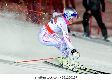 STOCKHOLM, SWEDEN - FEB 23, 2016: Lindsey Vonn (USA) in action at FIS SKI WORLD CUP