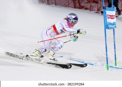 STOCKHOLM, SWEDEN - FEB 23, 2016: Side view of Lindsey Vonn (USA) at the FIS Alpine Ski World Cup - Men's and Woman's city event February 23, 2016, Stockholm, Sweden