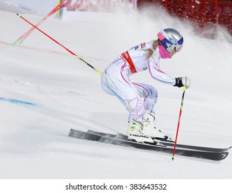 STOCKHOLM, SWEDEN - FEB 23, 2016: Lindsey Vonn (USA) skiing at the FIS Alpine Ski World Cup - Men's and Woman's city event February 23, 2016, Stockholm, Sweden