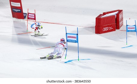 STOCKHOLM, SWEDEN - FEB 23, 2016: Lindsey Vonn (USA) and competitor skiing at the finish at the FIS Alpine Ski World Cup city event February 23, 2016, Stockholm, Sweden