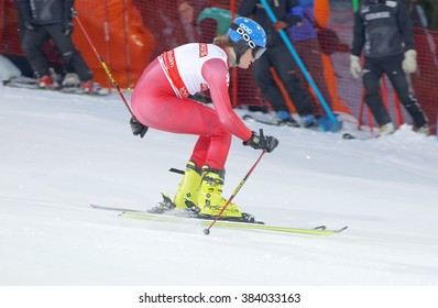 STOCKHOLM, SWEDEN - FEB 23, 2016: One male testrun skiier at the FIS Alpine Ski World Cup - city event February 23, 2016, Stockholm, Sweden