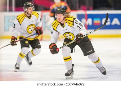 STOCKHOLM, SWEDEN, FEB 28, 2018: Brynas player nr 19 against Djurgarden in the SHL. Result 0-2 to BIF favor.