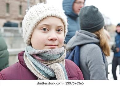 STOCKHOLM, SWEDEN - FEBRUARY 08, 2019: Greta Thunberg climate activist. School strike on Fridays.