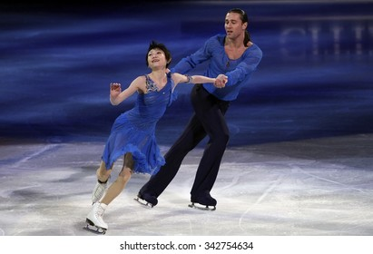 STOCKHOLM, SWEDEN - FEBRUARY 1, 2015: Yuko KAVAGUTI / Alexander SMIRNOV of Russia perform during the Exhibition Gala at ISU European Figure Skating Championship in Globen Arena.