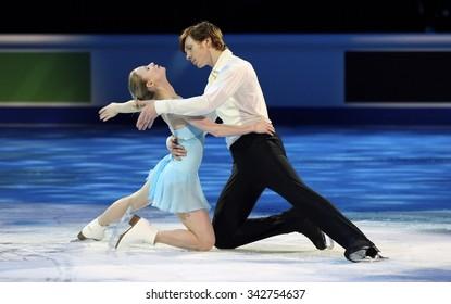 STOCKHOLM, SWEDEN - FEBRUARY 1, 2015: Evgenia TARASOVA / Vladimir MOROZOV of Russia perform during the Exhibition Gala at ISU European Figure Skating Championship in Globen Arena.