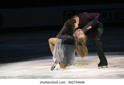 STOCKHOLM, SWEDEN - FEBRUARY 1, 2015: Alexandra STEPANOVA / Ivan BUKIN of Russia perform during the Exhibition Gala at ISU European Figure Skating Championship in Globen Arena.