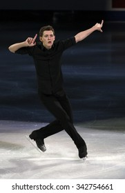 STOCKHOLM, SWEDEN - FEBRUARY 1, 2015: Maxim KOVTUN of Russia performs during the Exhibition Gala at ISU European Figure Skating Championship in Globen Arena.