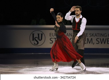 STOCKHOLM, SWEDEN - FEBRUARY 1, 2015: Sara HURTADO / Adria DIAZ of Spain perform during the Exhibition Gala at ISU European Figure Skating Championship in Globen Arena.
