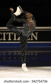 STOCKHOLM, SWEDEN - FEBRUARY 1, 2015: Mae Berenice MEITE of France performs during the Exhibition Gala at ISU European Figure Skating Championship in Globen Arena.
