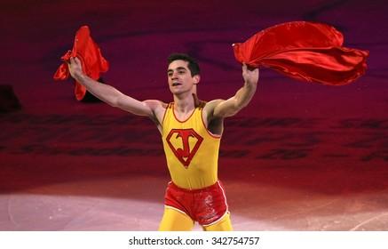 STOCKHOLM, SWEDEN - FEBRUARY 1, 2015: Javier FERNANDEZ of Spain performs during the Exhibition Gala at ISU European Figure Skating Championship in Globen Arena.