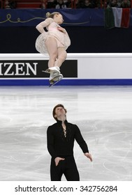 STOCKHOLM, SWEDEN -   FEBRUARY 1, 2015: Evgenia TARASOVA / Vladimir MOROZOV of France perform during pair's free skating event at ISU European Figure Skating Championship in Globen Arena.