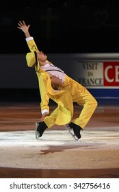 STOCKHOLM, SWEDEN - FEBRUARY 1, 2015: Alexander MAJOROV of Sweden performs during the Exhibition Gala at ISU European Figure Skating Championship in Globen Arena.
