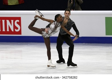 STOCKHOLM, SWEDEN -   FEBRUARY 1, 2015: Vanessa JAMES / Morgan CIPRES of France perform during pair's free skating event at ISU European Figure Skating Championship in Globen Arena.