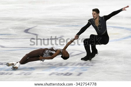 STOCKHOLM, SWEDEN -   FEBRUARY 1, 2015: Vanessa JAMES / Morgan CIPRES of France perform during pair's free skating event at ISU European Figure Skating Championship in Globen Arena.