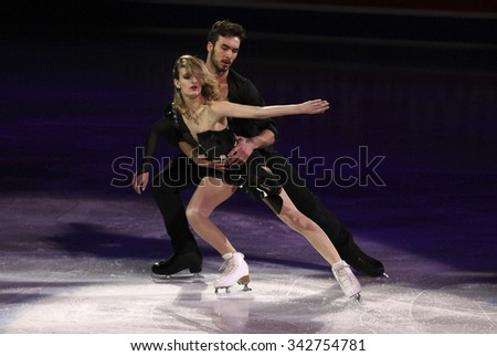 STOCKHOLM, SWEDEN - FEBRUARY 1, 2015: Gabriella PAPADAKIS / Guillaume CIZERON of France perform during the Exhibition Gala at ISU European Figure Skating Championship in Globen Arena.