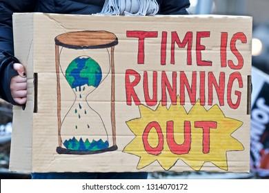 STOCKHOLM, SWEDEN - FEBRUARY 15, 2019: Greta Thunberg climate activist, demonstrating every Friday.