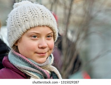 STOCKHOLM, SWEDEN - FEBRUARY 15, 2019: Portrait of Greta Thunberg