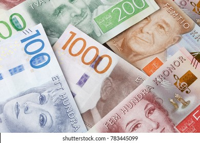 Stockholm, Sweden - February 20, 2017: A group of Swedish banknotes of different denominations introduced during 2015 and 2016