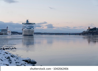 STOCKHOLM, SWEDEN; February 23 2018: Cruise leaving Stockholm Harbor